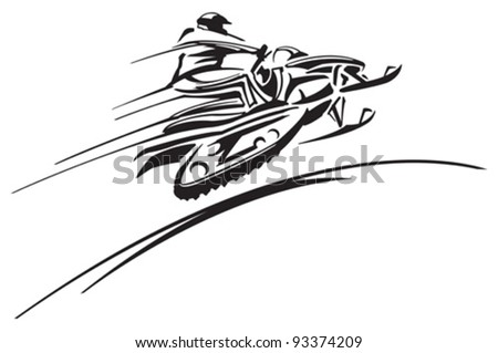 Snowmobiling - stock vector