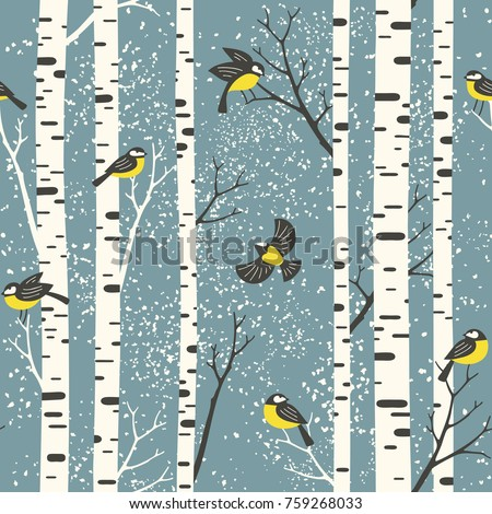 Snowy birch trees and birds on light blue background. Seamless vector pattern. Perfect for fabric, wallpaper, giftwrap or postcard design.