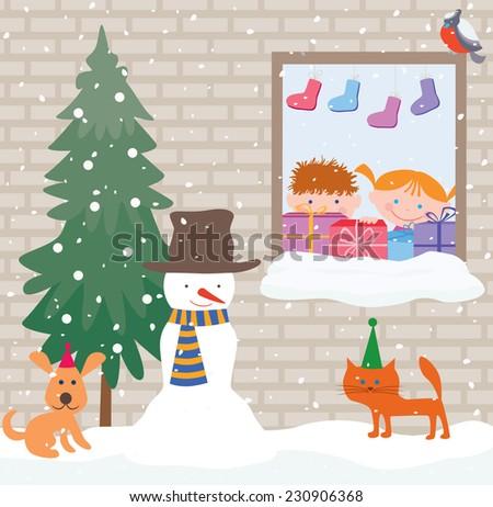 snowy Christmas - stock vector