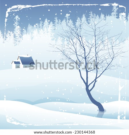 Snowy evening winter landscape with tree - stock vector