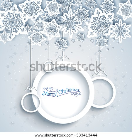 Snowy holiday frame. Christmas design for card, banner, invitation, leaflet and so on. - stock vector