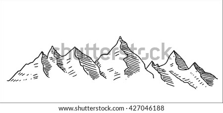 snowy mountain peaks landscape hand drawn sketch vector illustration