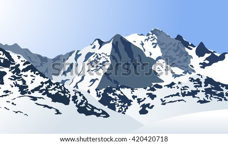 Snowy mountains landscape. Vector illustration. Outdoor background. - stock vector