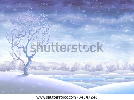 Snowy rolling winter landscape with a small tree in foreground  (other images from this series are in my gallery) - stock vector
