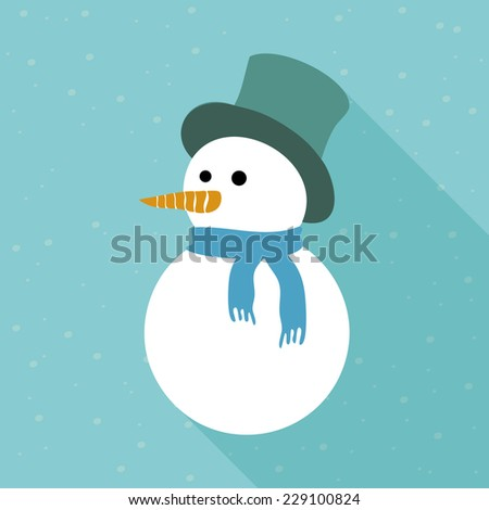 Snowy snowman. Festive and Christmas greeting card. Flat design.