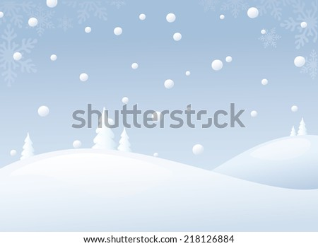 Snowy winter scene with plenty copy space. Snow drops and snowflakes can easily be removed. - stock vector