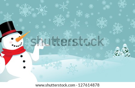 Snowy Winter Snowman Background EPS 8 vector, no open shapes or paths. Grouped for easy editing. - stock vector