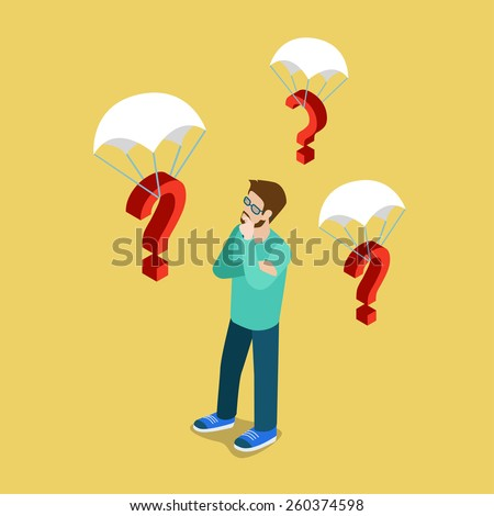 So many questions flat 3d isometric lifestyle psychology vector infographic template. Young man in glasses wearing casual clothes talking mobile phone and question signs on parachutes. Creative people - stock vector