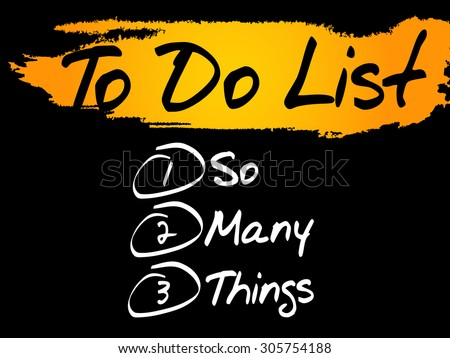 So Many Things in To Do List, vector concept background - stock vector