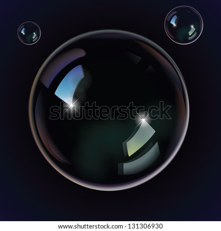 Soap bubbles on a black blue background - stock vector