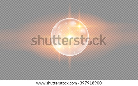 Soap water bubbles on checkered background, glowing light effect stars bursts with sparkles on transparent background. Glowing light. vector illustration. - stock vector