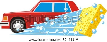 soapy sponge washes а car - stock vector