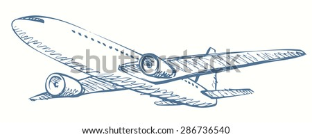 Soaring aerial airship vehicle machine arrival for landing to airport. Vector freehand ink hand drawn  linear backdrop icon sketchy in art scribble style pen on paper. Bottom view with space for text - stock vector