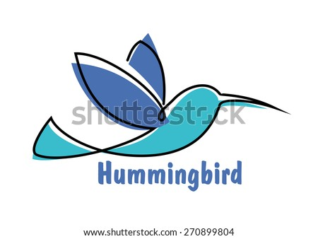 Soaring hummingbird symbol for logo or emblem design with abstract colibri little bird in shades of blue - stock vector