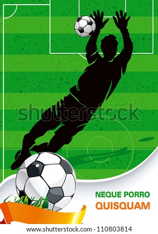 Soccer Action Player on beautiful Abstract Background. Original Vector illustration sports series. Classical football poster.