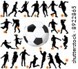 soccer and ball vector - stock vector
