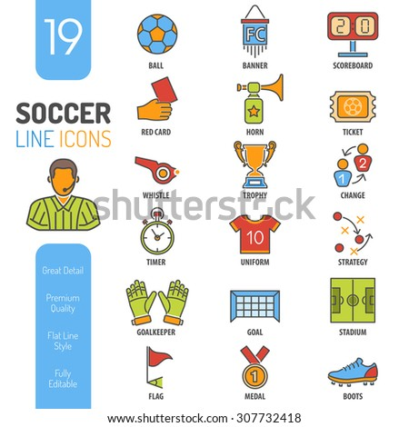 Soccer and Football Thin Lines Color Web Icon Set with Flat Elements for Flyer, Poster like Referee, Ball and Trophy.