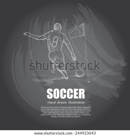 Soccer background Design. Hand drawn. chalkboard. vector.