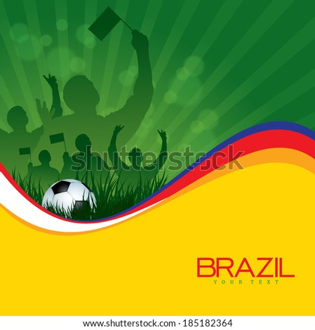 Soccer Background with Ball and Fans - stock vector