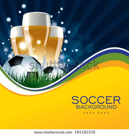 Soccer Background with Beer and Soccer Ball - stock vector