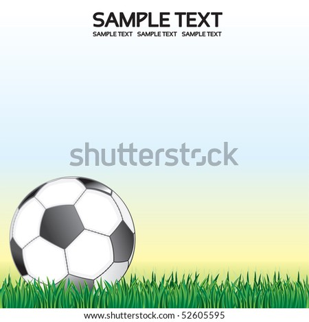Soccer background with football ball and grass lawn - for your text