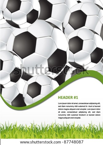 soccer background with footballs and grass - web and print template - stock vector