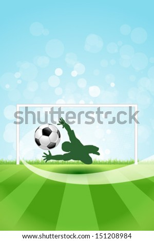 Soccer Background with Goalkeeper and Ball.  Original Vector illustration sports series. Classical football poster. - stock vector