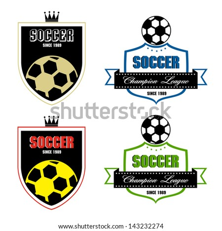Soccer badge, Soccer labels, Soccer emblems - stock vector