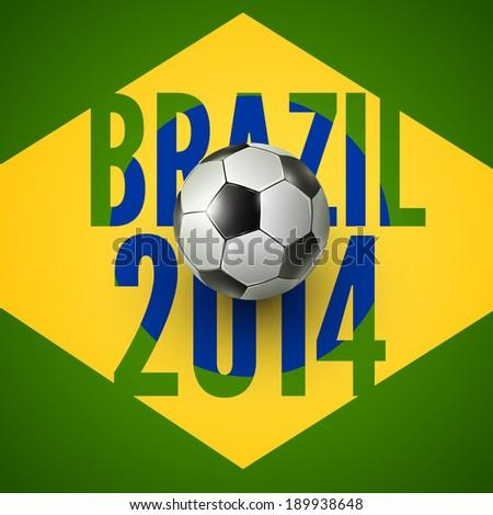 Soccer ball above flag of Brazil , vector background - stock vector