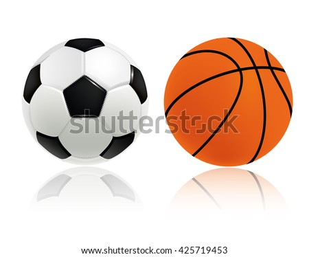 Soccer ball and basketball ball isolated on white background. Vector illustration.