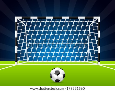 Soccer ball and gate with dark night  background - stock vector
