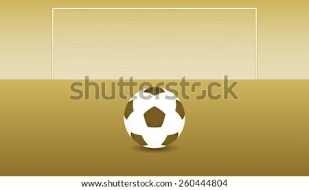 Soccer ball and play field in the vintage sepia colors - stock vector