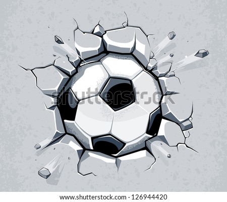 Soccer ball breaking the wall. EPS 8 vector illustration. - stock vector