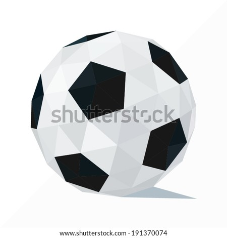 soccer ball by triangles, polygon vector illustration - stock vector