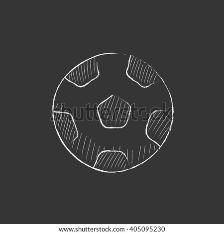Soccer ball. Drawn in chalk icon. - stock vector
