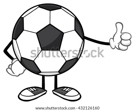 Soccer Ball Faceless Cartoon Mascot Character Giving A Thumb Up. Vector Illustration Isolated On White Background - stock vector