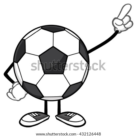 Soccer Ball Faceless Cartoon Mascot Character Pointing. Vector Illustration Isolated On White Background - stock vector