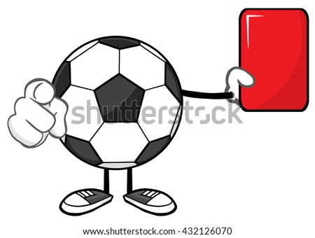 Soccer Ball Faceless Cartoon Mascot Character Referees Pointing And Showing Red Card. Vector Illustration Isolated On White Background - stock vector