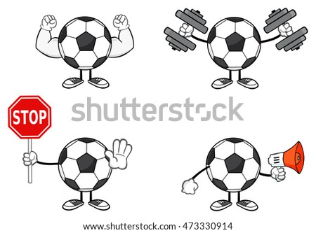 Soccer Ball Faceless Cartoon Mascot Character 3. Vector Collection Set Isolated On White Background