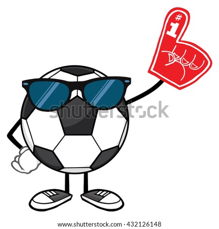 Soccer Ball Faceless Cartoon Mascot Character With Sunglasses Wearing A Foam Finger. Vector Illustration Isolated On White Background - stock vector