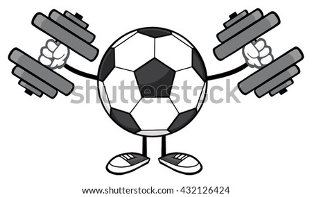 Soccer Ball Faceless Cartoon Mascot Character Working Out With Dumbbells. Vector Illustration Isolated On White Background - stock vector