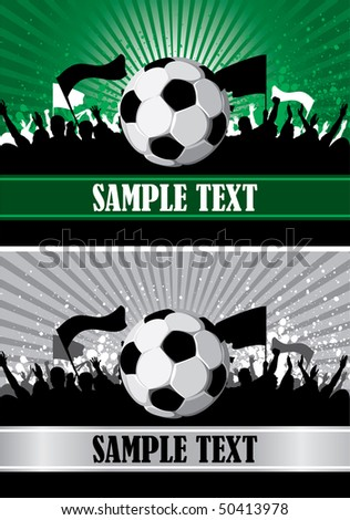 Soccer ball (football) on grunge background with silhouettes of fans, paint splatters and drips.