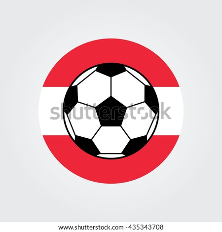 Soccer ball. Football soccer ball icon Vector illustration. Flat design.Austria flag. Austrian Football. Europe.
