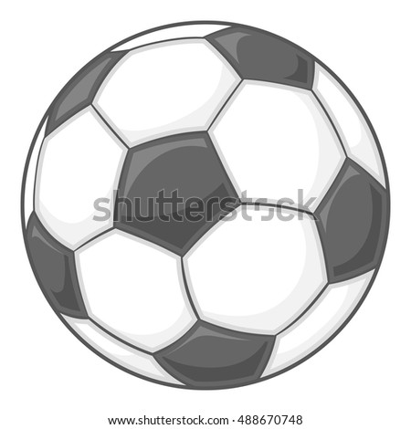 Soccer ball icon in black monochrome style isolated on white background. Sport symbol vector illustration