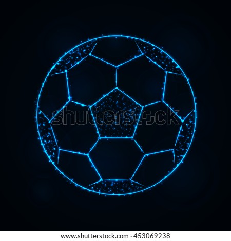 Soccer Ball Illustration Icon, Blue Color Lights Silhouette on Dark Background. Glowing Lines and Points - stock vector