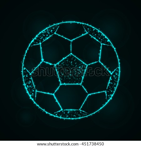 Soccer Ball Illustration Icon, Cyan Color Lights Silhouette on Dark Background. Glowing Lines and Points - stock vector