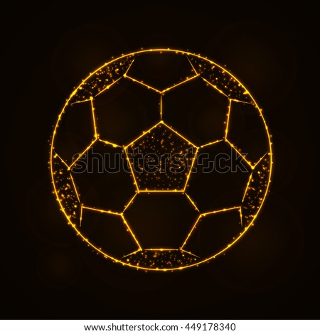 Soccer Ball Illustration Icon, Gold Color Lights Silhouette on Dark Background. Glowing Lines and Points. Soccer Ball. Soccer Ball. Soccer Ball. Soccer Ball. Soccer Ball. Soccer Ball. Soccer Ball. - stock vector