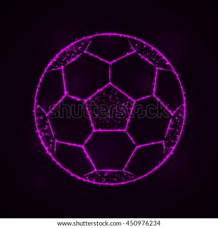 Soccer Ball Illustration Icon, Magenta Color Lights Silhouette on Dark Background. Glowing Lines and Points - stock vector