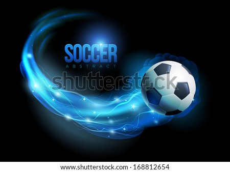 Soccer ball in flames and lights against black background. Vector illustration. - stock vector