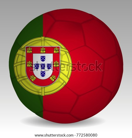 Soccer ball in the colors of the portugal flag. Vector illustration EPS 10.